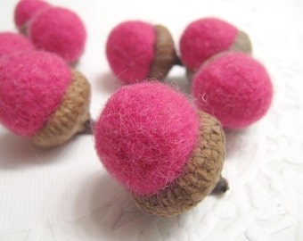 Dozen Hot Pink Jumbo Sized Wool Acorn Holiday Decorations Handmade from Felted Wool Sweaters and Real Caps