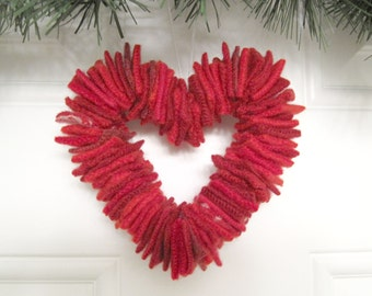 Valentines Day Red Heart Wreath Decoration Ornament Handmade from Felted Wool Sweaters (no.617)