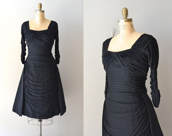 Cache Cache dress | vintage 1950s dress • black rayon 50s dress