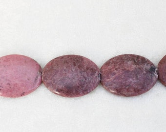 "8"" Strand Rhodonite Puffy Oval Beads"