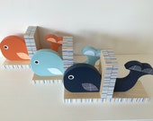 Whale Bookends, Navy, Blue or Orange, Nautical Room Decor, Nautical Nursery Decor