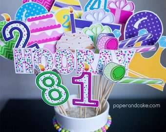 Happy Birthday Printable PHOTO BOOTH PROPS candles, party hats, presents, balloons - Editable Text >> Instant Download | Paper and Cake