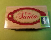 Inkadinkado FROM SANTA  Wood Rubber Stamp Tag Making