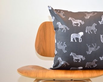 "Horse Pillow- Organic Decorative Throw Pillow- 18"" in Black and Silver Horses - Modern Pillow Cover, Home Decor"