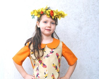 Spring Dress- Girls Dress in 2T to 6T- Eco Friendly Dress in Feathers with Orange- Modern Kids Clothing
