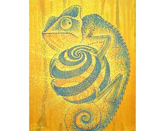 Chameleon with Spiral Ball, 8x10 in Original Painting on Canvas