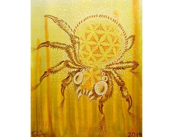 Golden Spider with Sacred Geometry Flower of Life Pattern, 8x10 in Original Painting on Canvas