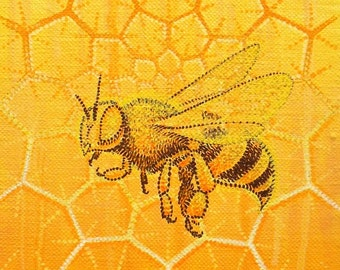 Painting on Canvas, Golden Bee with Honeycomb Mandala, 8x12 inch Original
