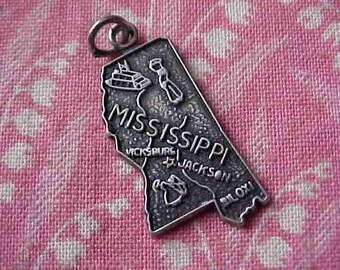 Vintage Sterling Mississippi State Map Travel Charm