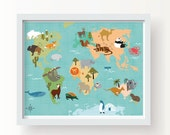 World Animal Map -  Wall Art Baby Nursery Kids Bedroom Home Decoration