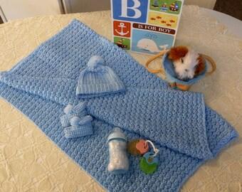 Crocheted Baby Blue Afghan