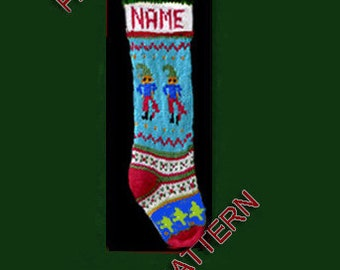 Pattern only  ---  Hand knit Christmas stocking,  Christmas tree, Santa, reindeer and  snowflake