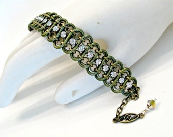 Handmade crystal, chain, leather woven bracelet. Metallic olive, antique bronze, sweet, romantic, one size, bling, adjustable.
