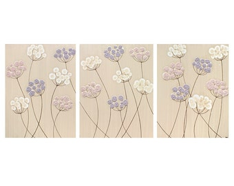 Shabby Chic Nursery Decor Flower Canvas Art for Baby Girl - Pink and Purple Triptych Painting - Large 50x20