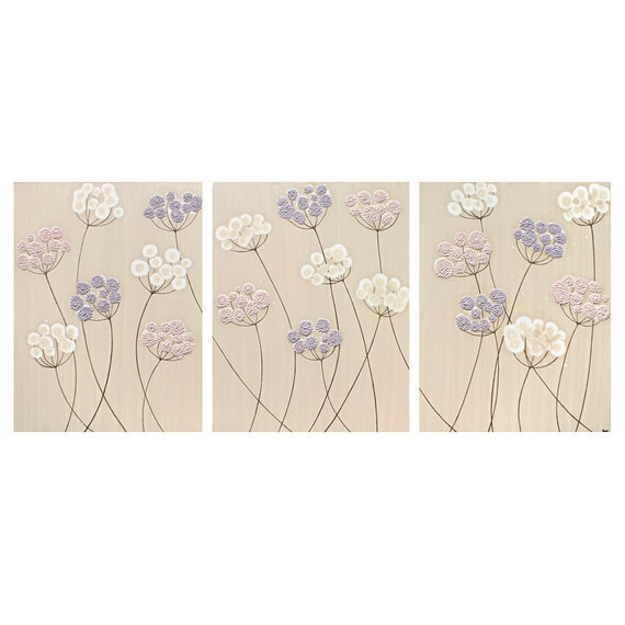 Nursery Wall Art Flower Paintings for Baby Girl - Pink and Purple Canvas Triptych - Large 50x20