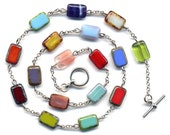 Multi Color Unique Czech Beads Necklace in Silver plated  Metal Chain Version