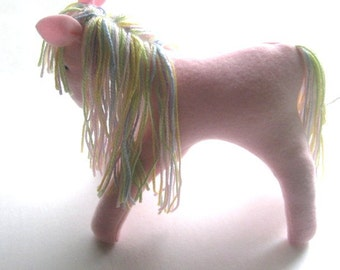 Little Pink Pony Soft Stuffed Animal for Nursery Toddler Toy Washable Fleece Multicolored  Mane and Tail No Buttons Original Pattern