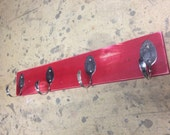 WILD Red Distressed Spoon Hooks Coat Rack