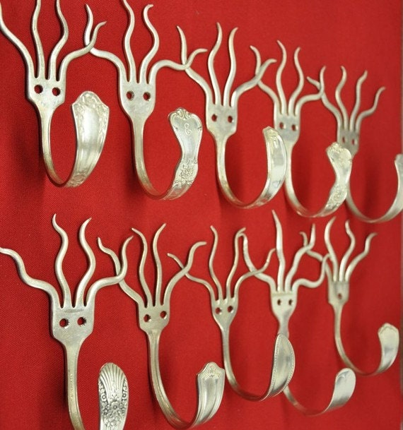 4 Silverware Coathooks Modern Decor Recycled art with forks
