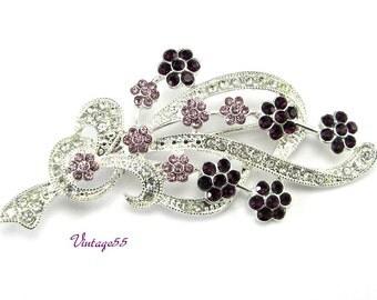 Brooch Rhinestone Floral Purple Lavender Silver tone