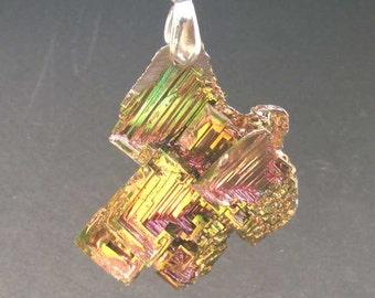 SUNSET GOLD - Bismuth Crystal Pendant - Brilliant Iridescent Hopper Crystal Group p82