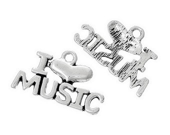 I Love Music - Set of 4 charms - #HK1085