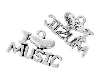 I Love Music - Set of 4 charms - #HK1085