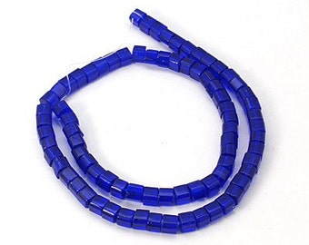 Blue - Glass cube beads - 4mm