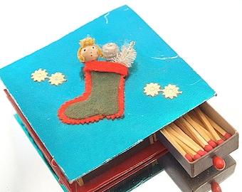 Kitsch Vintage Christmas Matches Foil Match Box Decoration Retro Japan Christmas Decoration
