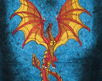 HUGE Flying Wyvern Dragon Red and Gold Iron on Patch