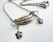 Sterling Silver and Aquamarine, Crescent and Stars Necklace, Hill Tribe Silver