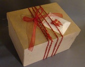 VALENTINE GIFT BOX - Papier Mache Gift Box - Red Twine and Ribbon - Gift Card