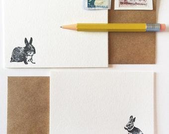 Bunny Rabbit Illustration  Flat Note Cards Set of 6 Letterpress Nature Stationery