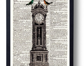 Original Art Print on A Vintage Dictionary Book Page Grandfather Clock and Birds