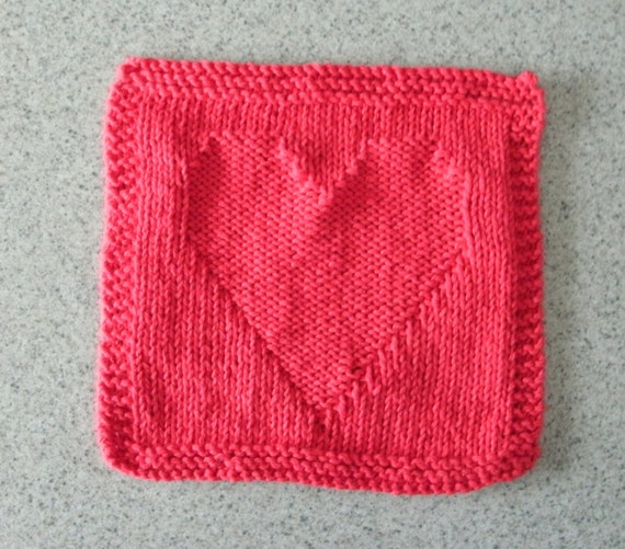 Red Heart Shaped Dishcloth knitted measures approximately