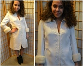 60s cocktail coat dress with mink collar and cuffs size medium