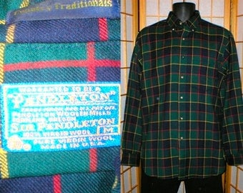 80s Pendleton plaid wool shirt womens size medium