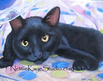 CAT PORTRAIT Custom original portrait in oil on 12 x 12 stretched canvas