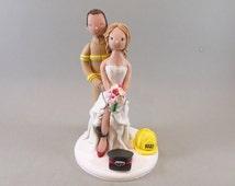Police Officer & Firefighter Custom Handmade Wedding Cake Topper