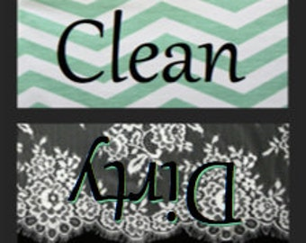 Black and Mint Green Clean/Dirty Dishwasher Magnet