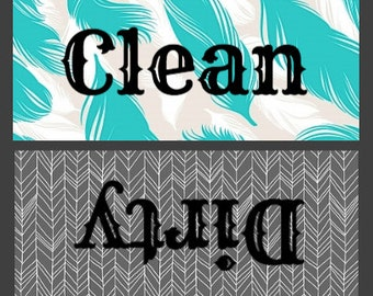 Gray and Mint Green Feather Clean/Dirty Dishwasher Magnet