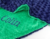 Kelly Green and Navy Personalized Minky Baby Blanket