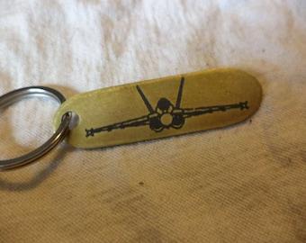 F-18  Etched Brass Keychain