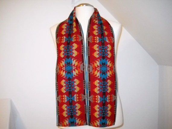 Wool Scarf  Unisex 60 x 7 Red and Turquoise  Southwestern Tribal Handcrafted Using Fabric from Pendleton Woolen Mill