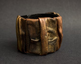Leather cuff bracelet Copper and gold casual Leather jewelry Wristband Wide bracelet