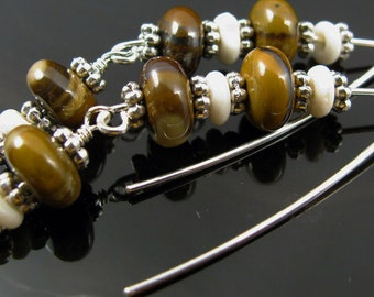 Sterling silver handmade earwire with brown stone beads