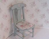 Dollhouse chair,  blue chair, duck egg blue, miniature chair, single chair, twelfth scale dollhouse miniature