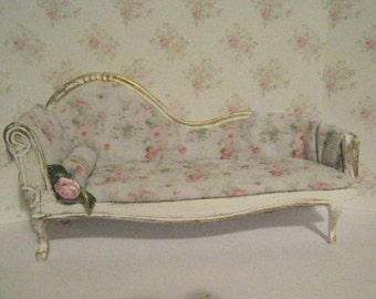 Dollhouse Chaise, Ladies boudoir, Tatty  chic, a dollhouse miniature in twelfth scale