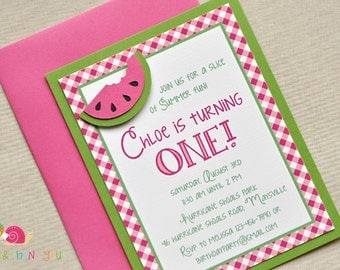 Watermelon Invitations · A2 LAYERED  · Fuchsia Gingham and Green · Birthday Party   Baby Shower   Summer Socials   Picnic   Cookout