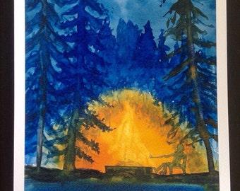 Fireside Watercolor Print